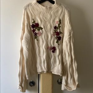 BP Nordstrom oversized cable knit floral sweater
